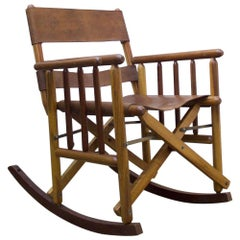 Vintage Folding Leather and Wood Rocking Chair