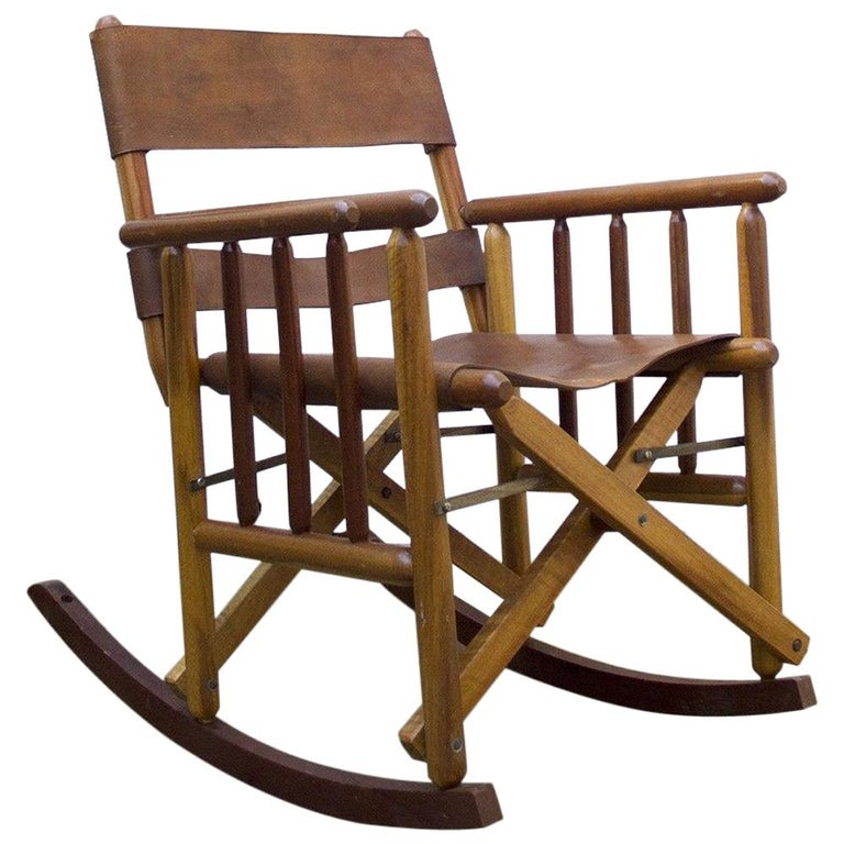 Vintage Folding Leather and Wood Rocking Chair For Sale