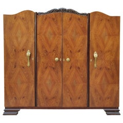 1920s Art Deco Walnut Veneer 4-Door Wardrobe