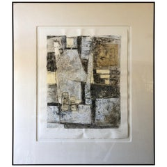Large Abstract Lithograph in Black Grey and Tan