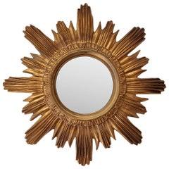 1970s Vintage Italian Sunburst Mirror Gilded Resin