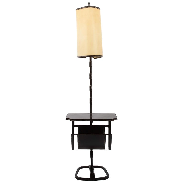 French Midcentury Floor Table Lamp, Jacques Adnet, Saddle Stitched Leather For Sale