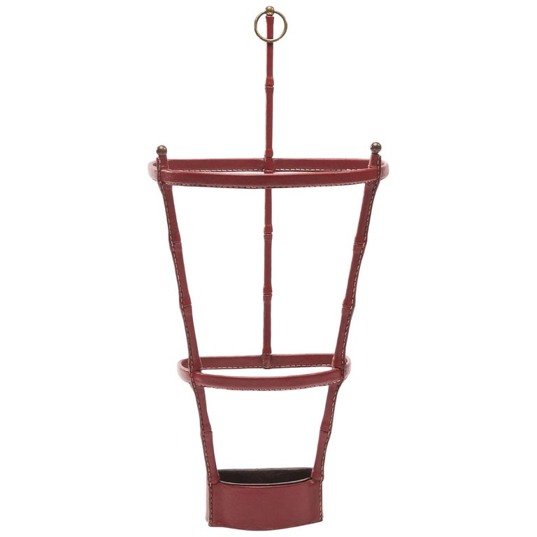 French Midcentury Umbrella Stand, Jacques Adnet, Saddle Stitched Leather For Sale