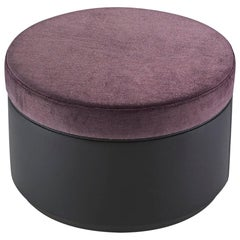 Pouf with Frame in Solid Timber and Plywood in Fabric or Leather Upholstered