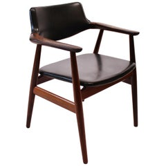 Armchair in Rosewood and Black Leather Designed by Erik Kirkegaard, 1960s