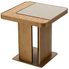 Bronze or Silver Finish Coffee Table, Mirror Insert Top with Decorative Mosaic