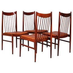 Set of six Arne Vodder rosewood chairs, model 422, made by Sibast.