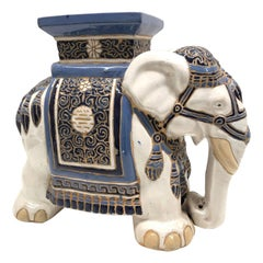 Hollywood Regency Chinese Blue Ivory Colored Elephant Garden Plant Stand or Seat