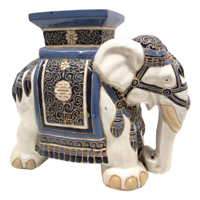Hollywood Regency Chinese Blue Ivory Colored Elephant Garden Plant Stand or Seat For Sale
