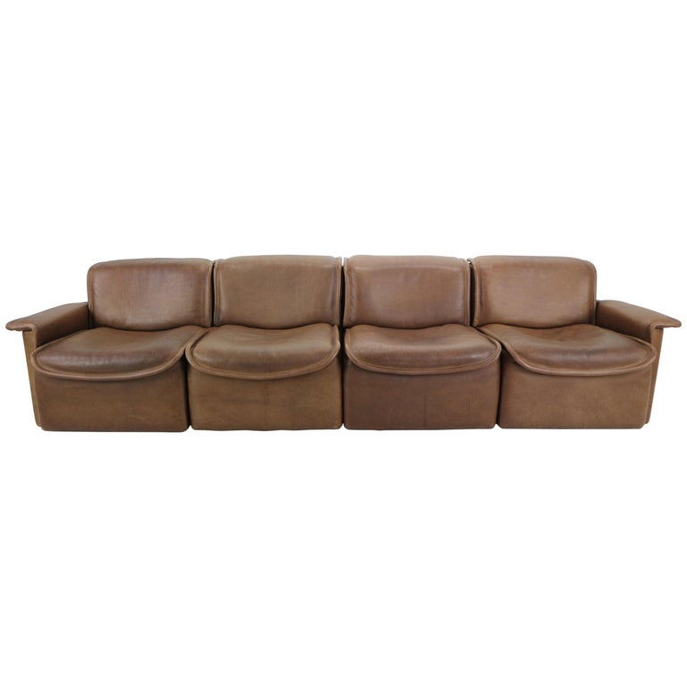 Vintage DS-12 Four-Seat Brown Leather Sofa by De Sede, Switzerland, 1970s For Sale