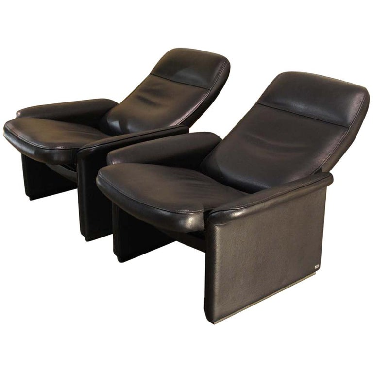 Pair of De Sede Black Leather Reclining DS50 Lounge Chairs, Switzerland, 1970s For Sale