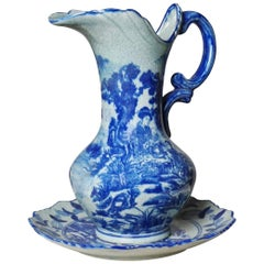 Large Japonism Blue and White Ceramic Handle Vase with under Plate, Jug