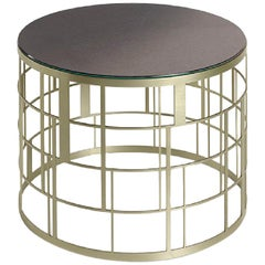 Said Table in Stainless Steel with Liquid Metal Champagne or Bronze Finish