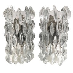 Stunning Pair of Grand Scale Ice Glass Kalmar Sconces, Austria, 1960s