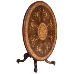 19th Century English Victorian Walnut Marquetry Table