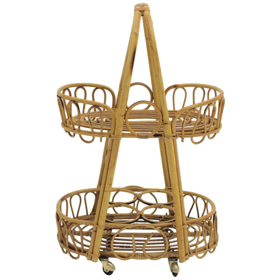 Mid-Century Modern Vintage Rattan Bamboo Bar Cart Serving Trolley 1950s Italy