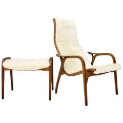 Yngve Ekström Lamino Lounge Chair with Stool, Swedese, 1956