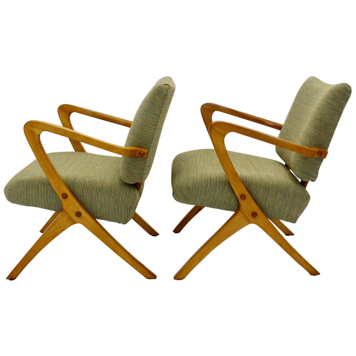 Green Beech Vintage Mid Century Modern Armchairs or Lounge Chairs Vienna, 1950s