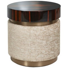 Side Table with Polished Ebony Finish, Fabric Upholstery and Decorative Metal
