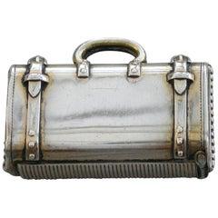 Victorian Novelty Silver Gilt Suitcase Vesta Case, William Summers, London, 1871