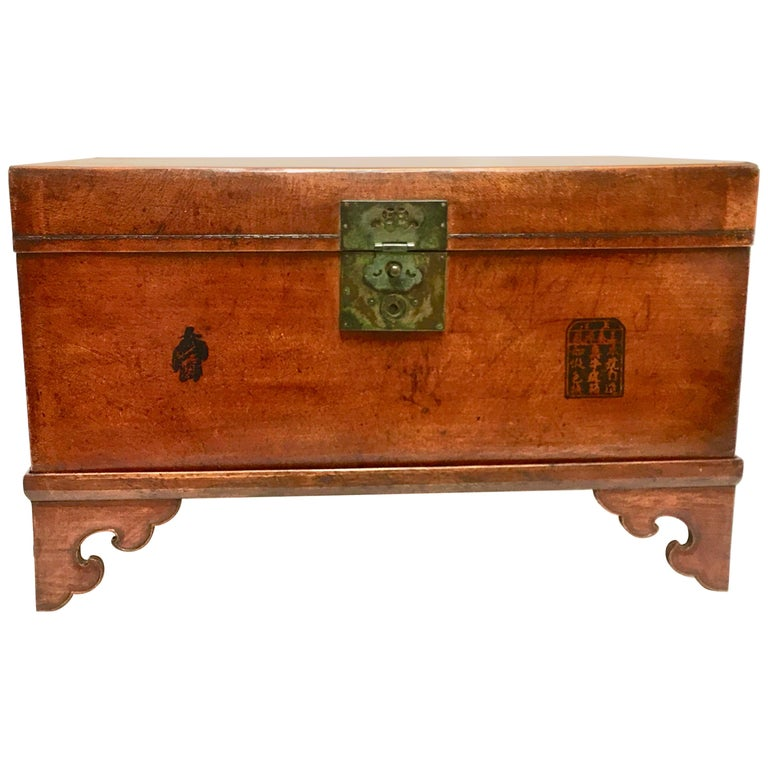 Leather Pig Skin Trunk on Stand Coffee Table For Sale