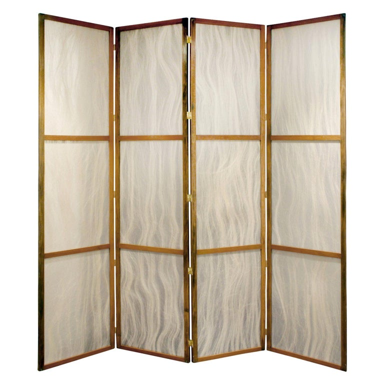 Tall Screen with Inset Horse Hair Panels, 1960s For Sale