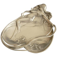 WMF Art Nouveau Dish Depicting a Nude Lady on a Heart Shaped Leaf, circa 1900