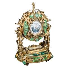 20th Century Silver-Gilt Enamel Clock