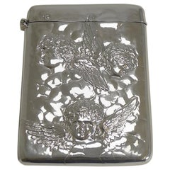Antique English Sterling Silver Card Case, Angels, 1898