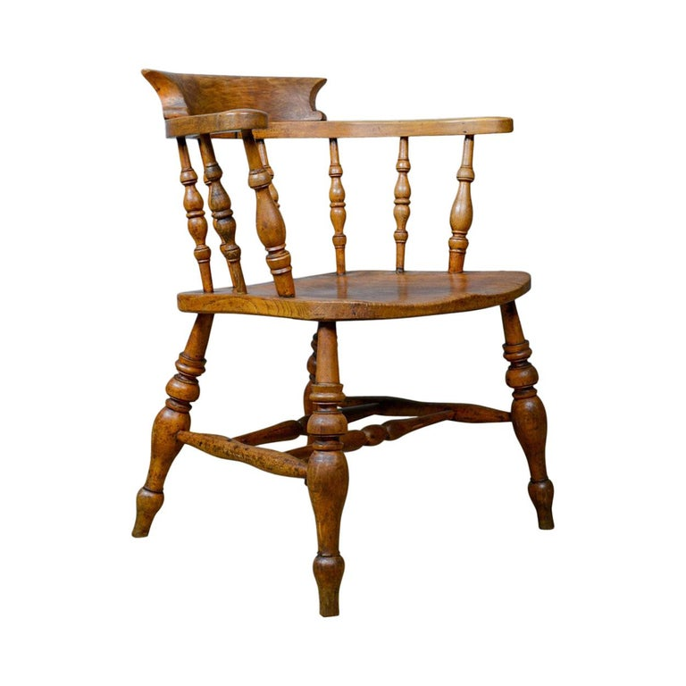 Antique Bow-Back Elbow Chair, English, Victorian, Smokers, Captains, circa 1890 For Sale