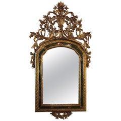 Italian 18th Century Carved Mecca Gilt Mirror Double Frame with Mercury Mirror