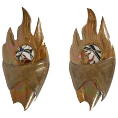 Large Pair of Mid-Century Modern Scones, Copper and Leaded Glass, French, 1970
