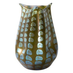 Tiffany Studios New York Glass Vase with Silver Dotted Motif
