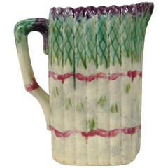 19th Century Majolica Asparagus Pitcher Onnaing