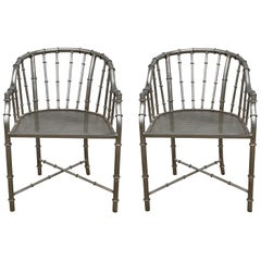 1960s French Jacques Adnet Style Faux Bamboo Steel Chairs, Pair