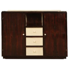 Mid-Century Modern Palisander and Parchment Cabinet, French, circa 1940