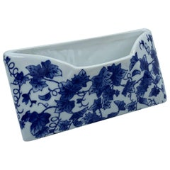 1980s Blue and White Porcelain Letter Holder with Ivy Motif
