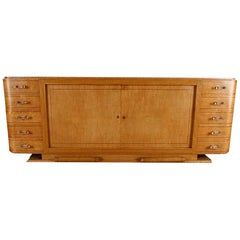 Extremely Rare Mid-Century Modern Amboyna Sideboard with Lucite Pulls