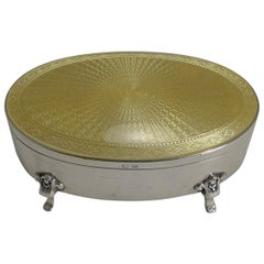 English Sterling Silver and Yellow Guilloche Enamel Jewelry / Ring Box - 1924