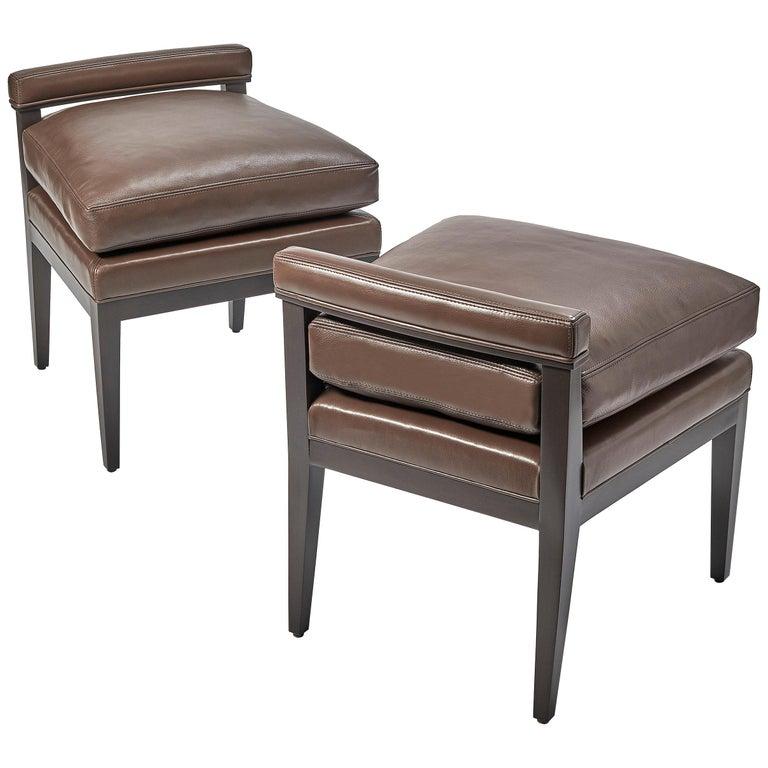 Custom Morgan Mini Brown Leather Chair For Sale