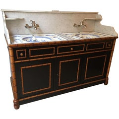 19th Century French Faux Bamboo Cupboard Sink with Marble and Ceramic, 1890s