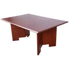 Frank Lloyd Wright Taliesin Mahogany Extension Dining Table, Newly Restored