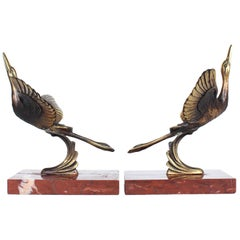 Art Deco Marabou Stork Bookends