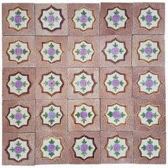 Panel of 25 Authenthic Glazed Art Deco Relief Tiles, Belga, circa 1930s