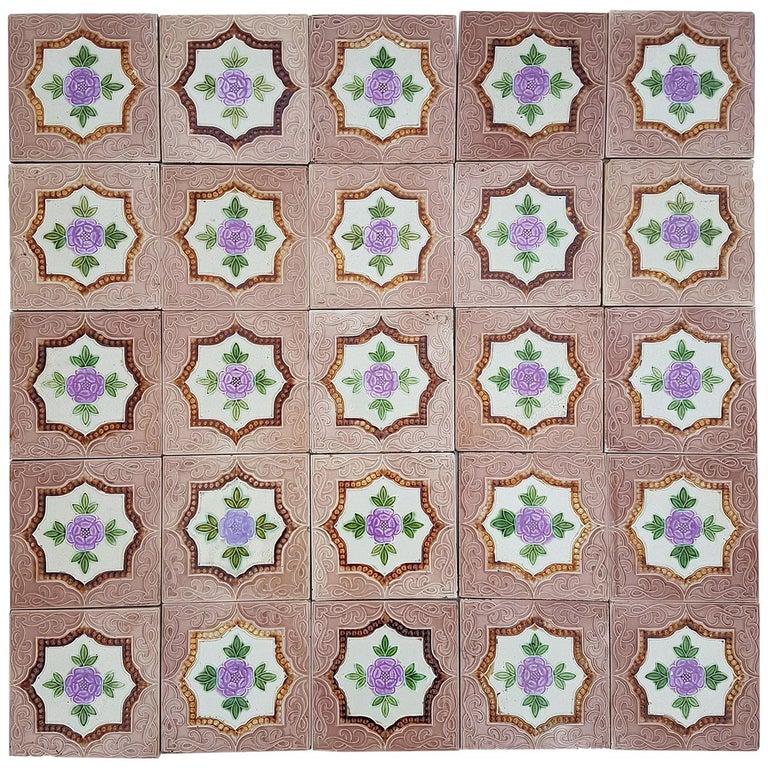 Panel of 25 Authenthic Glazed Art Deco Relief Tiles, Belga, circa 1930s For Sale