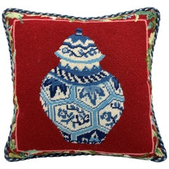 1970s Blue and White Ginger Jar Needlepoint Pillow