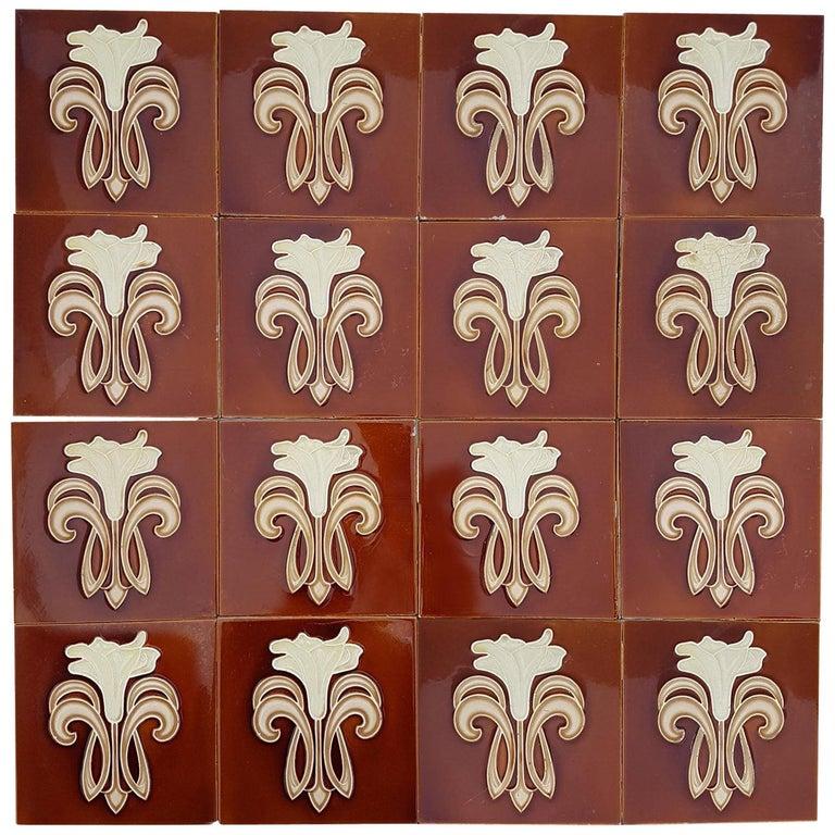 30 Art Jugendstil Ceramic Tiles by Gilliot Fabrieken te Hemiksem, circa 1920 For Sale