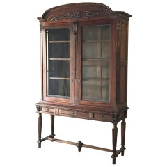 19th Century French Louis XVI Mahogany Bookcase or Vitrine