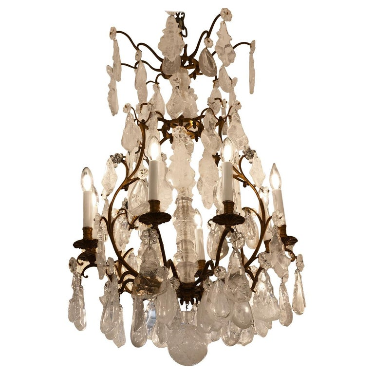 French Rock Crystal Chandelier, circa 1880 For Sale