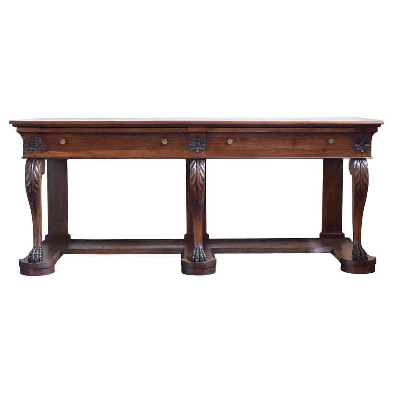 Large Late Neoclassical Carved Walnut Console Table, Italy, Mid-19th Century For Sale